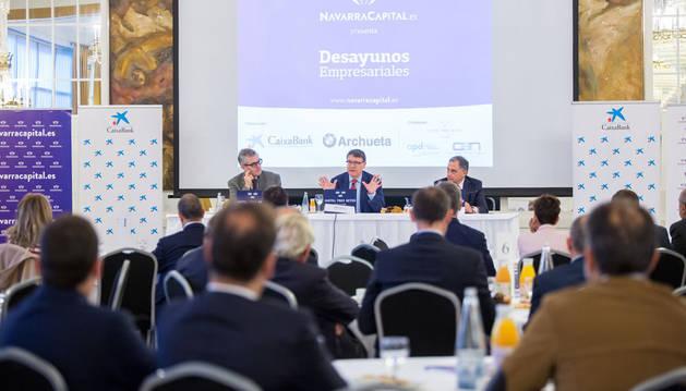 Jordi Sevilla, durante la conferencia de este martes en los Desayunos Empresariales de Navarra Capital