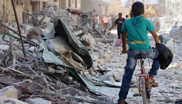 Un pueblo al norte de Siria, destruido como consecuencia de la guerra con el Estado Islámico.