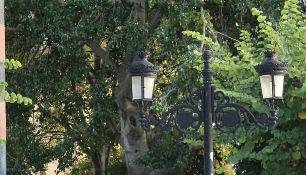 Una de las farolas del paseo de La Fuente de Allo.