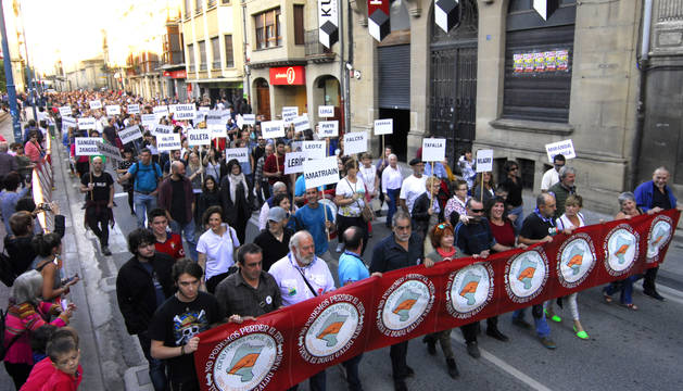 Un aspecto de la manifestación, ayer en Tafalla.