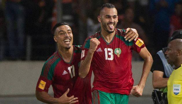 Imagen del encuentro del Gabón contra el Marruecos.