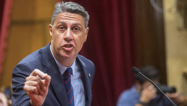 El líder del PPC, Xavier García Albiol, durante su comparecencia en el Parlament tras la intervención del president, Carles Puigdemont.