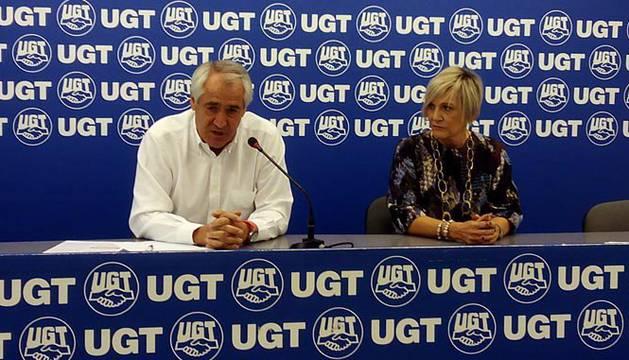 El secretario general de UGT de Navarra, Jesús Santos, este martes.