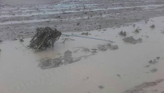 Imagen de cómo quedó inundada un campo de Beire.