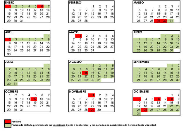 Imagen del calendario laboral de una empresa de Pamplona.