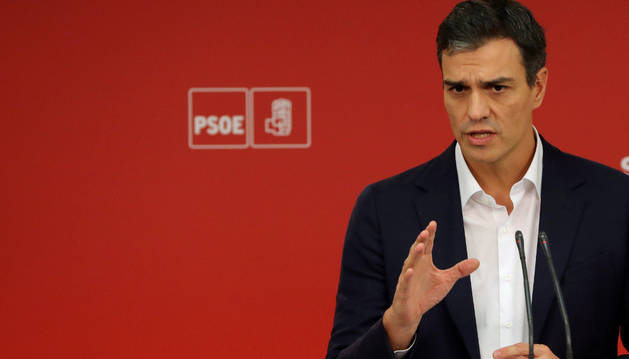 El secretario de PSOE, Pedro Sánchez, ha hablado este miércoles en la sede del PSOE en Ferraz tras la comparecencia de Rajoy.
