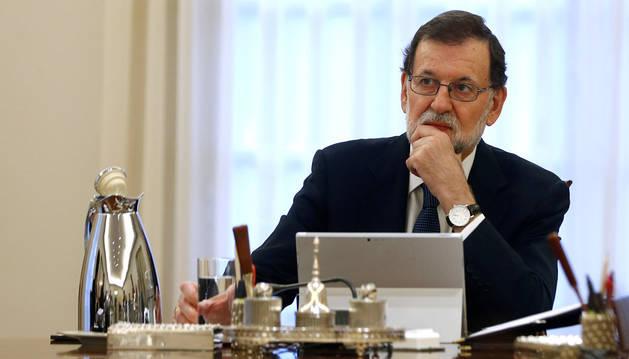 Imagen de Mariano Rajoy, este miércoles en el Palacio de la Moncloa.