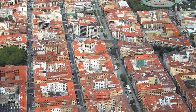 Vista aérea del Ensanche de Pamplona