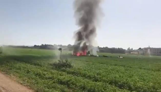 Imágenes de la humareda tras el accidente.
