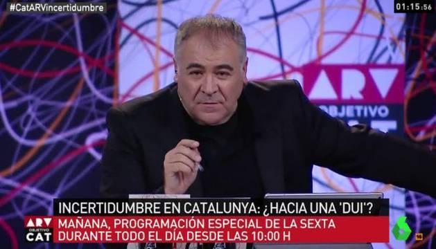 Imagen de un momento del programa de Ferreras, 'Al rojo Vivo,' dedicado al conflicto catalán.