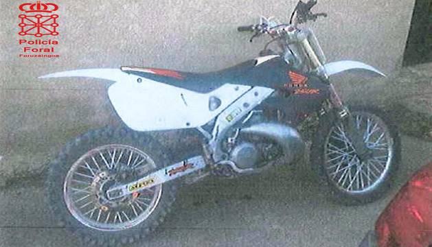 La moto en la que se interceptó al vecino de Lodosa.