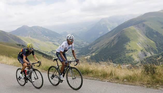 Alejandro Valverde y Nairo Quintana, en Alpe d'Huez.