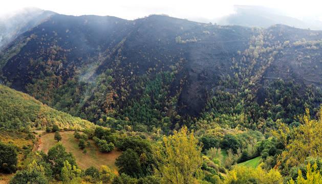 Vista general del paisaje arrasado por el fuego, en la zona de los Ancares, Reserva Natural y pulmón de Galicia.
