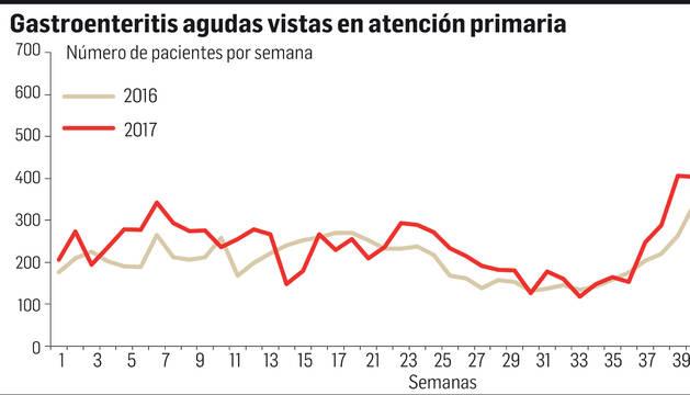 Cientos de navarros afectados por la gastroenteritis típica en otoño