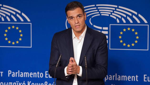 Imagen de Pedro Sánchez, durante la rueda de prensa que ha ofrecido en Bruselas.