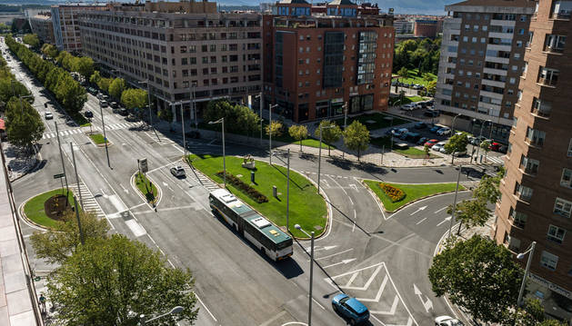 Imagen de un tramo de la avenida Pío XII de Pamplona