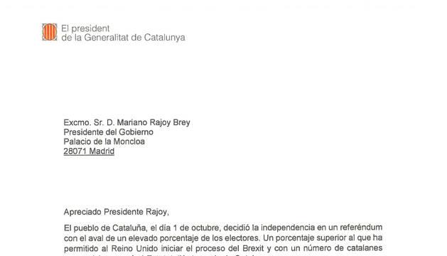 Texto íntegro de la carta de Puigdemont.