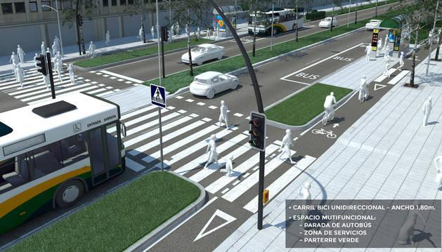Recreación de Pío XII: Carril bici unidireccional con ancho 1,80 m y espacio multifuncional con parada de autobús, zona de servicio y césped.