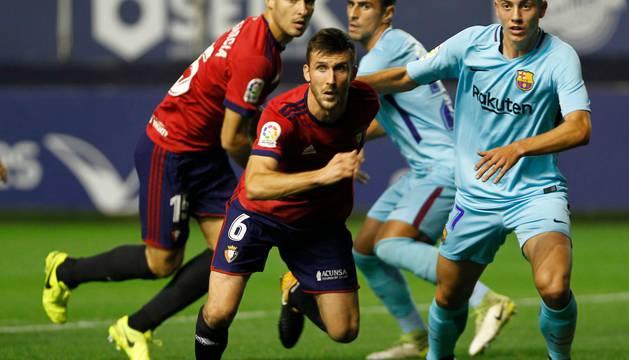 Oier repitió la jugada del gol ante el Zaragoza aunque sin éxito.