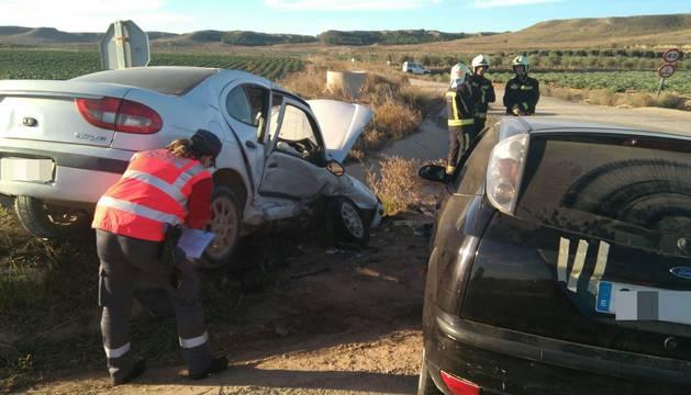 Imagen del estado en el que quedaron los vehículos tras el choque en Ablitas.