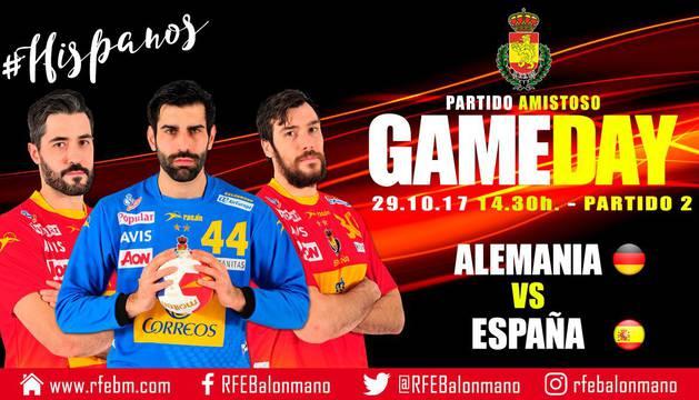 Cartel del partido amistoso de la selección española en Alemania.