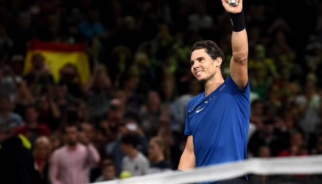 Rafa Nadal celebra su victoria frente al surcoreano Chung.