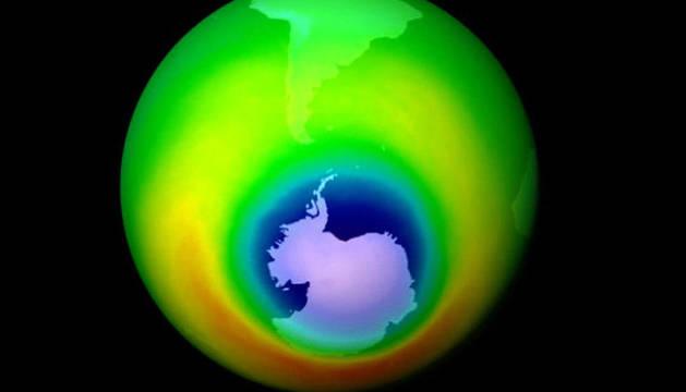 Aspecto de la capa de ozono en octubre de 1999.