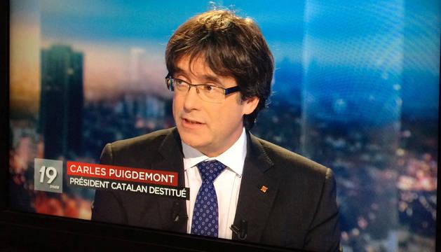 Puigdemont, en la televisión belga.