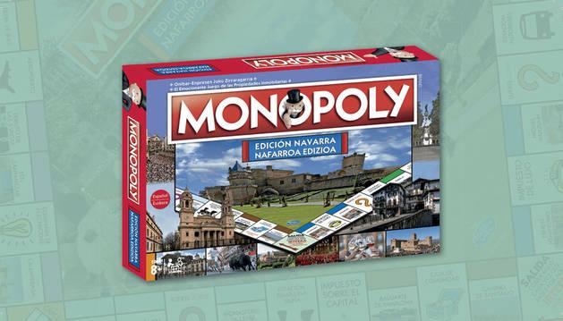La caja de la edición navarra del Monopoly.