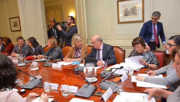 Imagen de la consejera Beaumont, durante la reunión celebrada en Madrid.