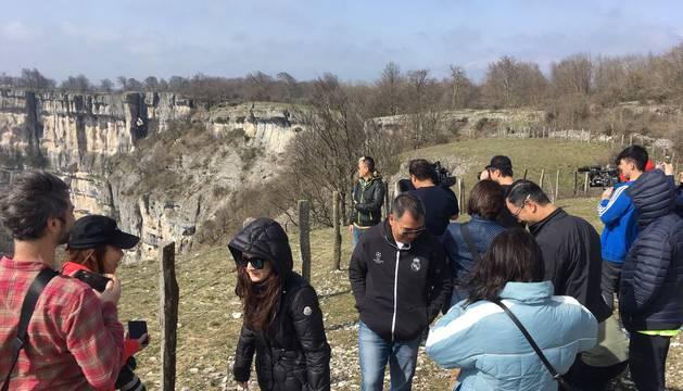 Periodistas chinos, en un viaje anterior.