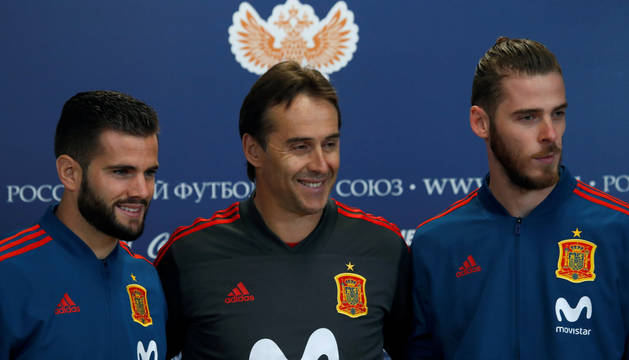 Nacho, Lopetegui y De Gea.