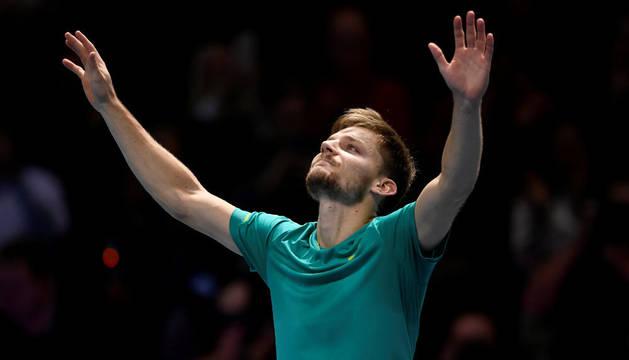 David Goffin celebra su histórico pase a las finales de la ATP