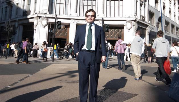El pamplonés Miguel Janín Santos en Oxford Circus de Londres, donde se encuentra su empresa.