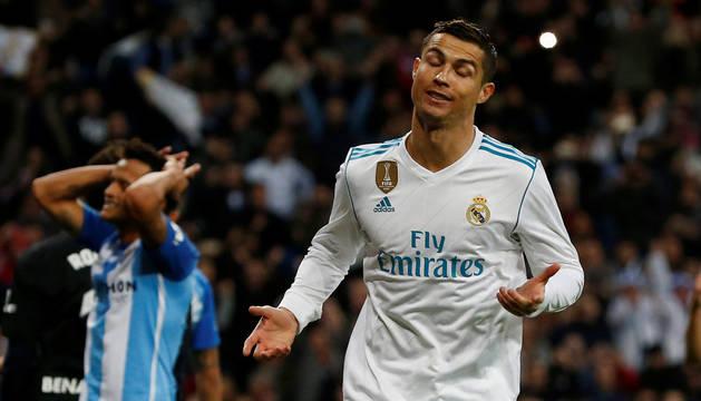 Cristiano Ronaldo celebra con un curioso gesto el 3-2.