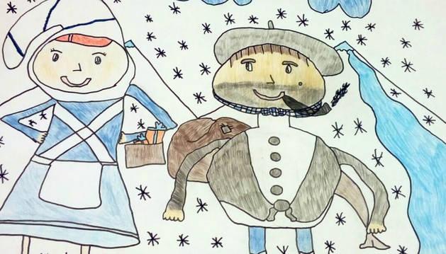 Dibujos De Navidad Del Olentzero.Itziar Fernandez Y Eneko Gorricho Ganan En Baranain El