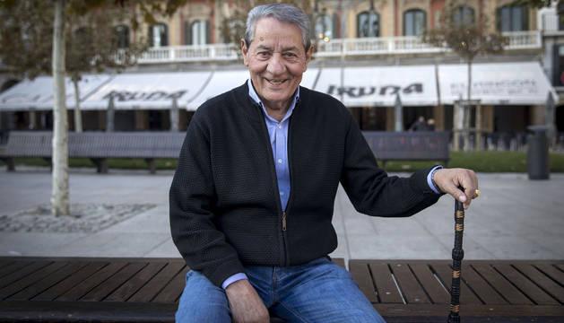 José Muñoz Berrio, en la Plaza del Castillo de Pamplona.