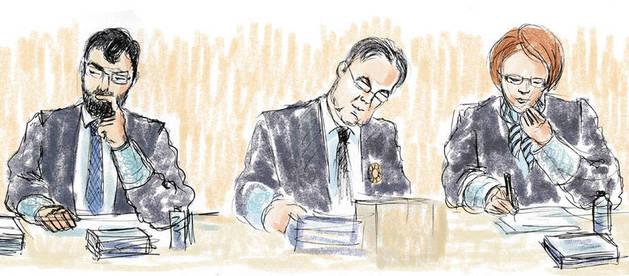 Ilustración de los tres miembros del tribunal: Ricardo González, José Francisco Cobo y Raquel Fernandino.