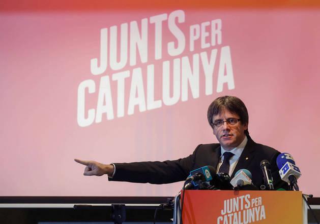 Imagen de Puigdemont, en un acto el 25 de noviembre en Bruselas a favor de la coalición Junts per Catalunya.