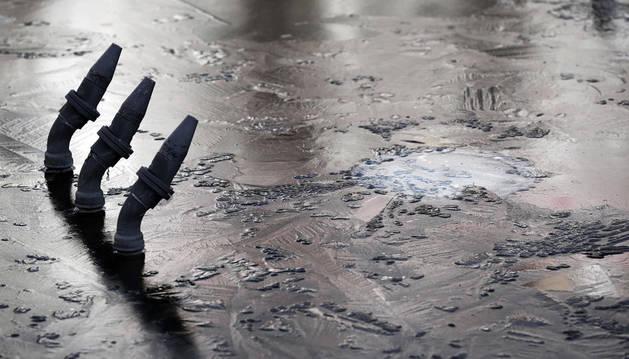 Este miércoles, las fuentes amanecieron heladas en gran parte de la geografía navarra.