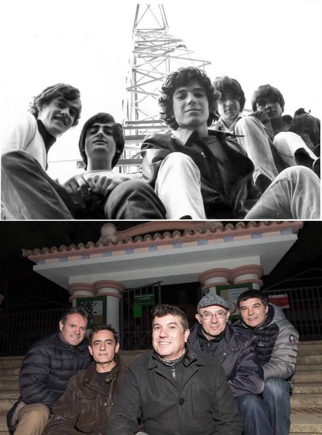 En la imagen de arriba, los miembros del grupo en 1977. Abajo, en la actualidad.
