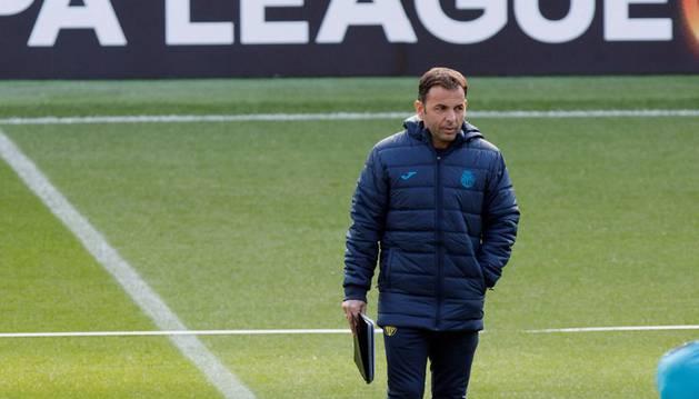 Calleja durante el entrenamiento previo al partido contra el Maccabi