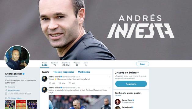 Perfil de Twitter de Andrés Iniesta.