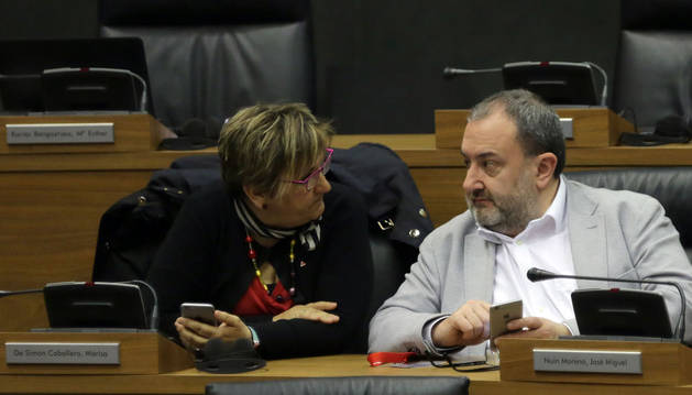 Imagen de los parlamentarios de I-E Marisa de Simón y José Miguel Nuin, durante un pleno.