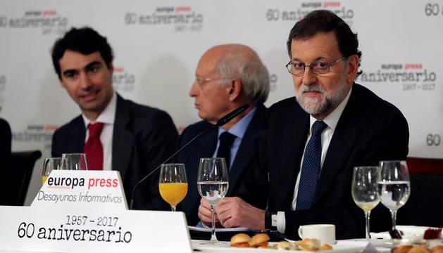 Mariano Rajoy, en el desayuno informativo de Europa Press.