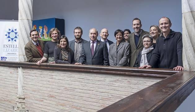 Los representantes de las ciudades de la Red de Juderías que se desplazaron a Estella.