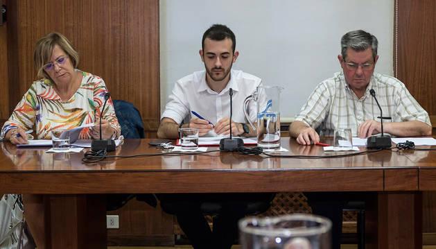 Imagen de los ediles del PSN de Estella, Jorge Crespo e Ignacio Sanz de Galdeano, junto a Yolanda Alén en una sesión plenaria del Ayuntamiento de la ciudad.