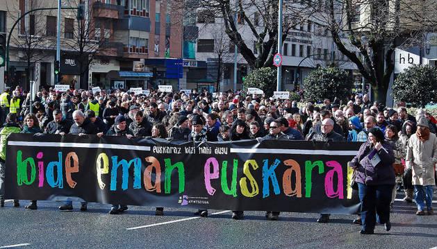 Imagen de un momento de la manifestación de este sábado en Pamplona.