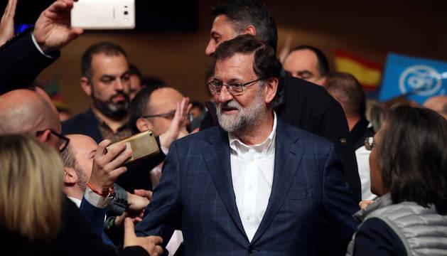Mariano Rajoy, en un acto electoral en Salou.