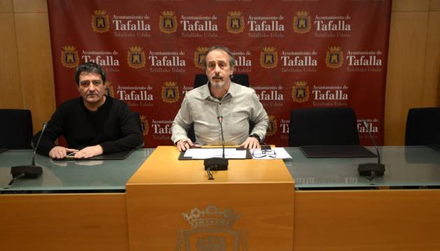 Pedro Leralta (izda.) y el alcalde en la rueda de prensa de este viernes.